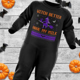 Witch Better Have My Milk Halloween Baby Romper Suit - Purple Print House