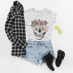 Floral Skull Crown T Shirt - Purple Print House