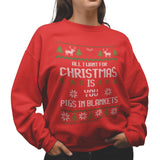 All i want for Christmas is Pigs in Blanket Funny Sweatshirt - Purple Print House