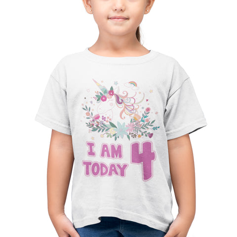 Personalised Age Unicorn Princess Girls Birthday T Shirt - Purple Print House