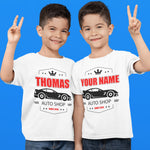 Personalised Car Garage Any Name Boys T Shirt - Purple Print House