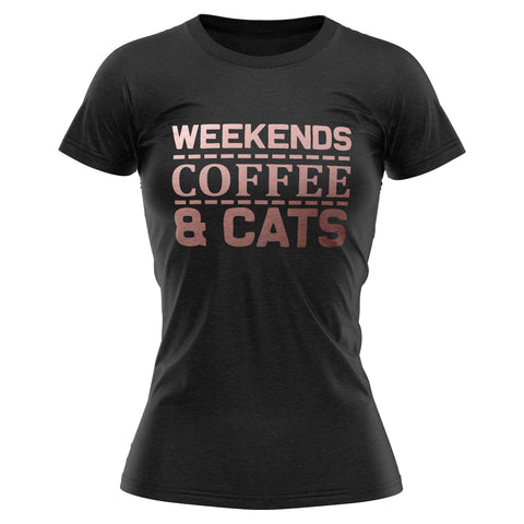 Weekends Coffee and Cats Rose Gold T Shirt
