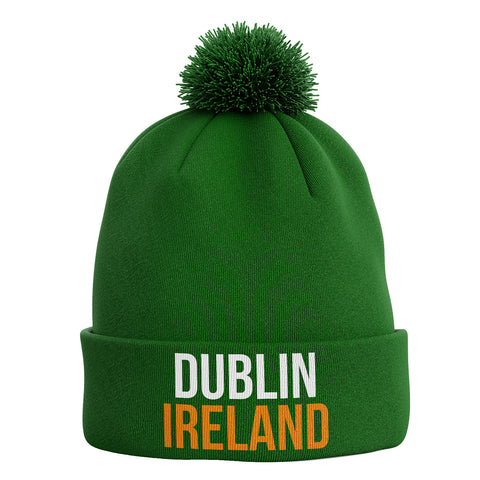 Dublin Ireland Bobble Beanie Hat - Purple Print House