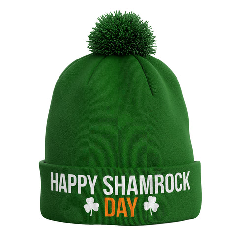 Happy Shamrock Day Ireland Bobble Beanie Hat - Purple Print House