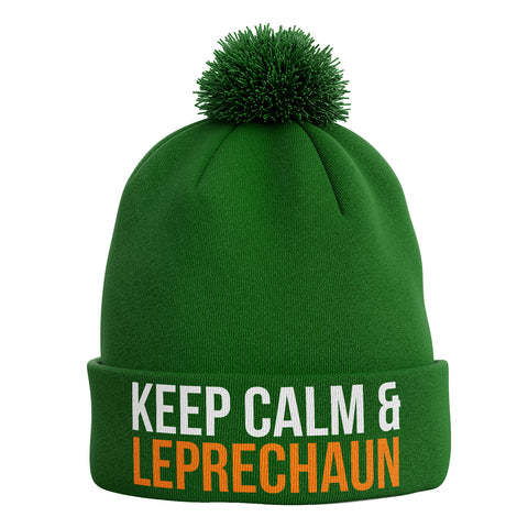 Keep Calm and Leprechaun Ireland Bobble Beanie Hat - Purple Print House