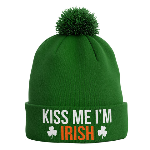 Kiss Me Im Irish Ireland Bobble Beanie Hat - Purple Print House