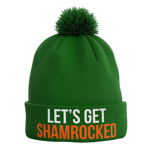 Lets Get Shamrocked Ireland Bobble Beanie Hat - Purple Print House
