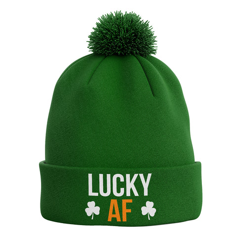 Lucky AF Ireland Bobble Beanie Hat - Purple Print House