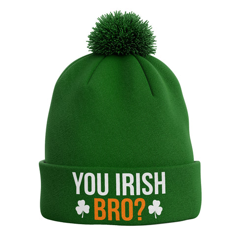 You Irish Bro ? Bobble Beanie Hat - Purple Print House