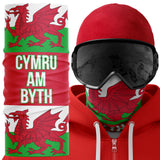 Cymru am Byth Wales Biker Ski Face Mask Snood - Purple Print House