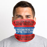 If You Can Read This You're Too Close Snood Face Mask - Purple Print House
