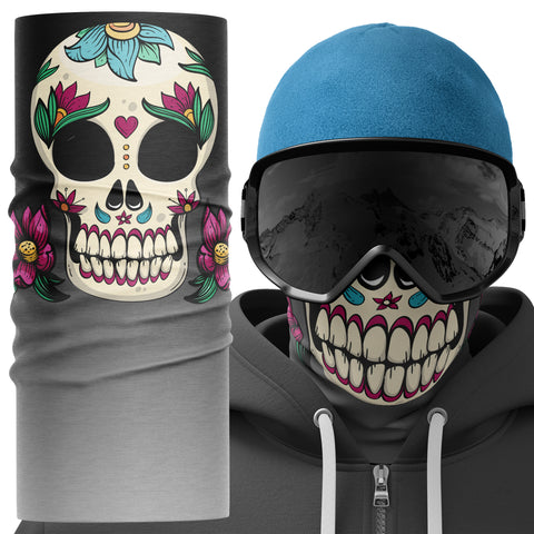 Candy Skull Snood Face Mask - Purple Print House