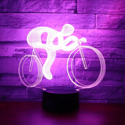 Lampe LED 3D - Cycliste (7 couleurs interchangeable) à -50% ! - LesLampes.fr