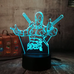Lampe 3D Deadpool (7 couleurs) - LesLampes.fr
