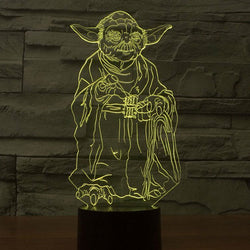 Lampe LED 3D - Maître Yoda (7 couleurs interchangeable) - LesLampes.fr