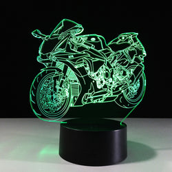 Lampe LED 3D - Moto de course (7 couleurs interchangeable) - LesLampes.fr