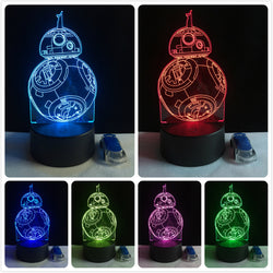 Lampe LED 3D - BB-8  7 couleurs (StarWars) - LesLampes.fr