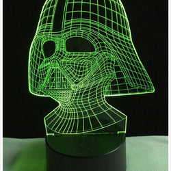 Lampe LED 3D - DARK VADOR  7 couleurs (StarWars) - LesLampes.fr