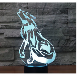 Lampe LED 3D - Loup hurlant (7 couleurs interchangeable) - LesLampes.fr