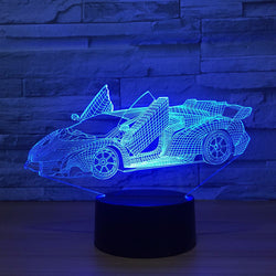 Lampe LED 3D - Super Car (7 couleurs interchangeable) - LesLampes.fr