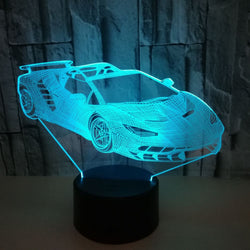Lampe LED 3D - Voiture de sport (7 couleurs interchangeable) - LesLampes.fr