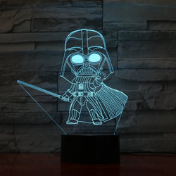 Lampe LED 3D - Mini Dark Vador (7 couleurs interchangeable) - LesLampes.fr