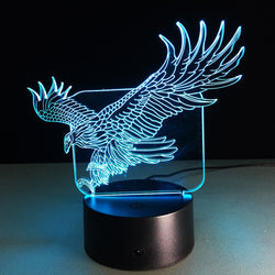 Lampe LED 3D - Aigle royal (7 couleurs interchangeable) - LesLampes.fr