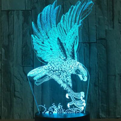 Lampe LED 3D - Aigle royal qui chasse (7 couleurs interchangeable) - LesLampes.fr