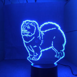 Lampe LED 3D - Chow-chow (7 couleurs interchangeable) - LesLampes.fr