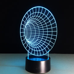 Lampe LED 3D - Tunnel Espace/Temps (7 couleurs interchangeable) - LesLampes.fr