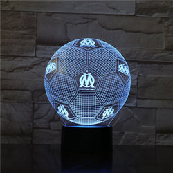 Lampe LED 3D - Ballon de l'Olympique de Marseille (7 couleurs interchangeable) - LesLampes.fr