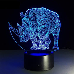 Lampe LED 3D - Rhinocéros (7 couleurs interchangeable) - LesLampes.fr