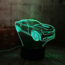 Lampe LED 3D - Mustang (7 couleurs interchangeable) - LesLampes.fr