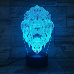 Lampe LED 3D - Tête de Lion (7 couleurs interchangeable) - LesLampes.fr