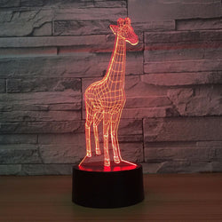 Lampe LED 3D - Girafe (7 couleurs interchangeable) - LesLampes.fr