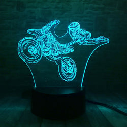 Lampe LED 3D - Figure en Motocross (7 couleurs interchangeable) - LesLampes.fr