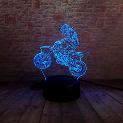 Lampe LED 3D - Saut en Motocross (7 couleurs interchangeable) - LesLampes.fr