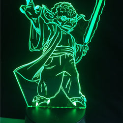 Lampe LED 3D - Yoda en combat (7 couleurs interchangeable) - LesLampes.fr