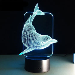 Lampe LED 3D - Dauphin (7 couleurs interchangeable) - LesLampes.fr