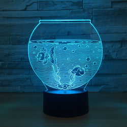 Lampe LED 3D - Aquarium (7 couleurs interchangeable) - LesLampes.fr