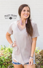 Load image into Gallery viewer, Very Fave Lace V Neck - Taupe