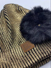 Load image into Gallery viewer, Metallic Gold Snap PomPom Beanie
