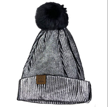 Load image into Gallery viewer, Metallic Silver Snap PomPom Beanie