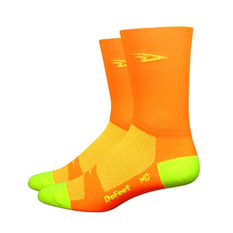 "DeFeet Aireator 5"" D-Logo Hi-Vis Orange w/Hi-Vis Yellow (Double Cuff)"