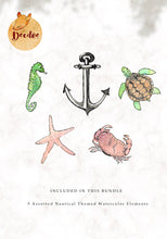 Load image into Gallery viewer, Ocean Creatures Watercolor Bundle