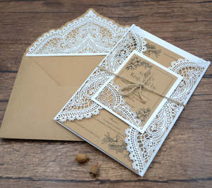 Sumptuous Romantic Pattern Wedding Invitation Cards with RSVP and Twine (Qty 10)
