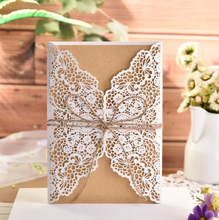 Load image into Gallery viewer, Elegant Flower Wedding Invitation Card With Rope (Qty 10)