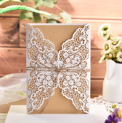 Elegant Flower Wedding Invitation Card With Rope (Qty 10)