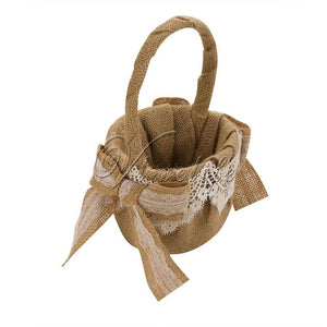 Vintage Jute Burlap Lace Wedding Flower Basket For Flower Girl