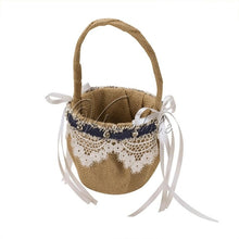 Load image into Gallery viewer, Vintage Jute Burlap Lace Wedding Flower Basket For Flower Girl